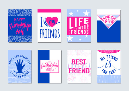 felicitation: Vector illustration of Friendship day typography background set in flat style. Inspirational motto quote about friend. Used as greeting cards, felicitation posters, print clothing, t-shirt for your friends. Illustration