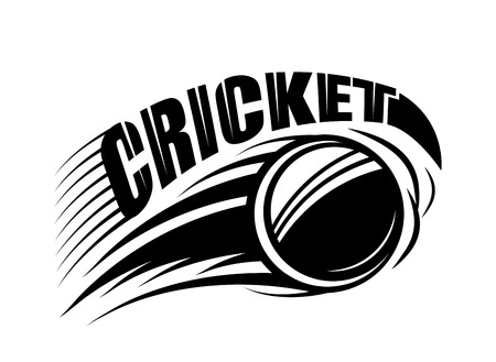 sporting event: Vector illustration of cricket badge template with flying ball and typography text sign in monochrome simple style. Use for print, web design. Editable. Illustration