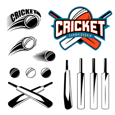 stumped: Set of cricket sports template elements - ball, bat. Use as icons, badges, label designs or print. Vector illustration of cricket championship Illustration