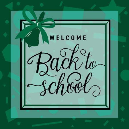 felicitation: Vector illustration of back to school greeting card with lettering element on seamless geometric background with circle, line, triangle, rectangle, star. Felicitation welcome back to school