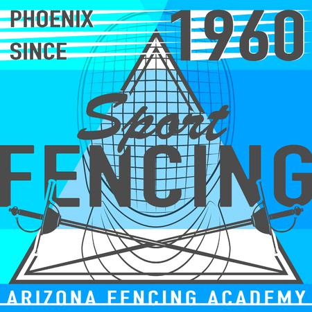 swordsmanship: illustration of fencing sport leaflet in simple flat style. Fencing template background with rapier, mask and text sign for poster, card. Use for print or web