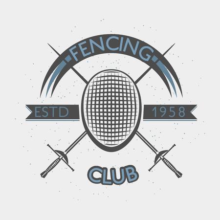 Fencing club badge illustration with foil and fencing mask. Sport vintage crest.