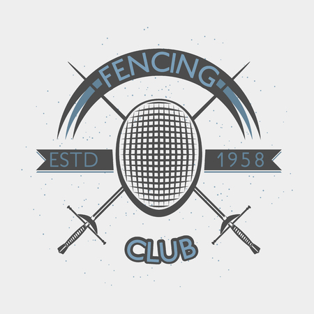 Fencing club badge illustration with foil and fencing mask. Sport vintage crest.