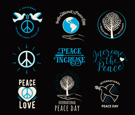 illustration of international peace day september 21. Element design for poster, badge with peace symbol, tree, palm, earth, quote sign. Greeting collection day of peace