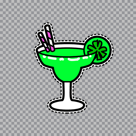 illustration of fashion fun and cute patch sticker with margarita goblet with a slice of lime and straws. Fashion comic wineglass badge in cartoon retro style