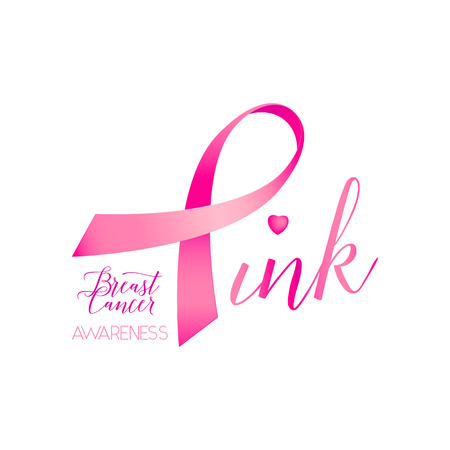 cancer ribbons: illustration of breast cancer ribbons and heart awareness women background. Breast cancer pink card with ribbon and text lettering sign Pink