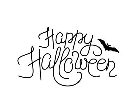 Ilustración De Signo Feliz Halloween Letras. Delgada Línea Feliz ...
