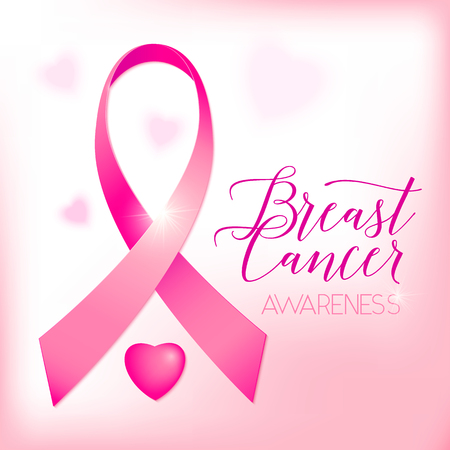 cancer ribbons: illustration of breast cancer ribbons and heart women awareness background. Breast cancer pink card with ribbon and text lettering sign breast cancer awareness