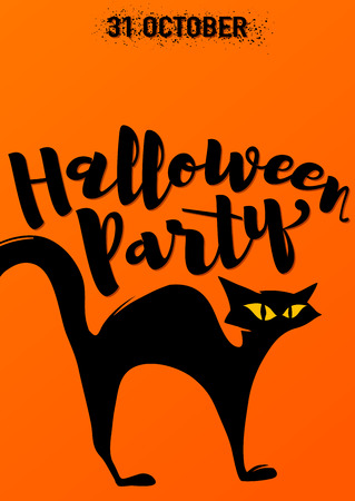 arched: illustration of halloween party invitation with scary black cat with arched back. Halloween party typography lettering on orange background. Retro halloween poster template in flat style
