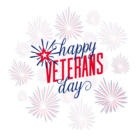 illustration of firework with typography Happy Veterans Day. November 11th, United state of America, USA veterans day design in flat style. Veterans Day poster card celebration design