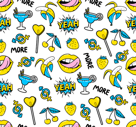 yeah: Seamless pattern with fashion patch badges with strawberry, lips, cherry, speech bubble yeah, candy and other elements.background with stickers, pins, patches in cartoon 90s comic style Illustration