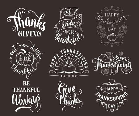 set of Thanksgiving wishes overlays, lettering labels design set. Retro thanksgiving typography badges. Vektorové ilustrace