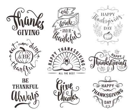 set of Thanksgiving wishes overlays, lettering labels design set. Retro thanksgiving typography badges. Hand drawn isolated emblem with pumpkin, leaves, turkey. Vektorové ilustrace