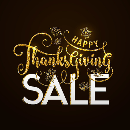 illustration of Happy Thanksgiving Sale, luxury design. Typography poster with gold leaves silhouette and lettering text. Golden glitter greeting celebration Thanksgiving card isolated on black Illustration