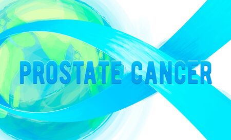 concerns: Vector illustration of prostate cancer awareness background isolated on white. Ribbon preventing the male prostate disease and cancer symbol blue bow, world earth. Painted blue ribbon emblem
