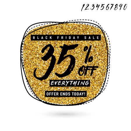 Vector illustration of Black Friday Sale with Discount 35. Glitter round shape background with typography sign. Stylish Black Friday golden template for poster, banner or flyer web or print design