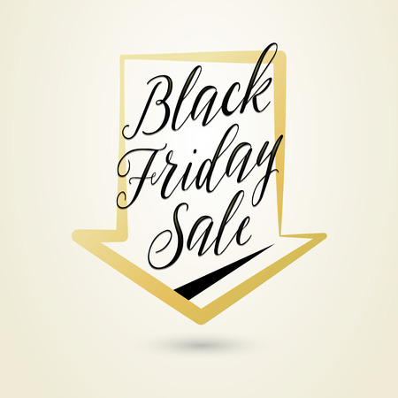inscribed: Vector illustration of Black Friday Sale. Light background with lettering text sign inscribed an arrow. Stylish Black Friday graphic template for poster, banner or flyer web or print design