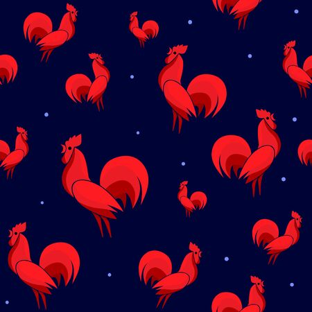 Vector illustration of Red Roosters seamless pattern with dots. Cock isolated on dark background. Endless backdrop for new year 2017 Illustration