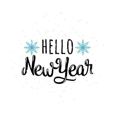 Vektorillustration von hallo Grußbeschriftungsaufschrift des neuen Jahres. Inspirational Zitatemblem der alten Winterurlaube mit neuem Jahr im Retrostil. Einladungsschablone für Fahne des neuen Jahres, Plakat Standard-Bild - 66886360