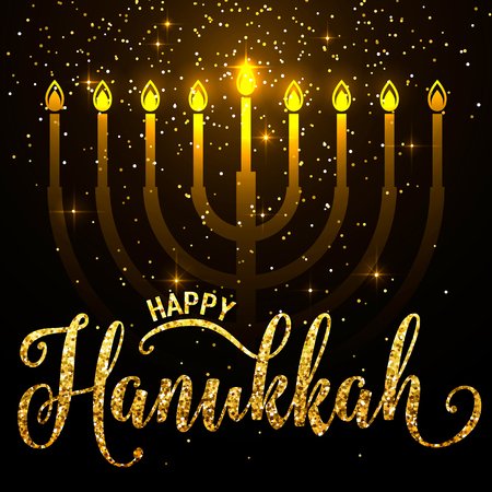 Vector illustration of happy Hanukkah gold greeting card. Happy Hanukkah lettering text sign. Golden Hanukkah background with candlestick with nine shiny candles Ilustracja