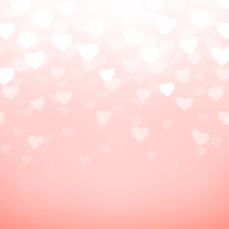shiny hearts: Vector illustration of pink background with light hearts for wedding, valentines card template. Shiny blur backdrop for holiday greeting banner, poster