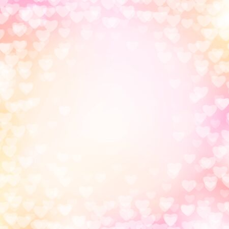 shiny hearts: illustration of pink background with light hearts for wedding, valentines card template. Shiny blur backdrop for holiday greeting , poster Illustration