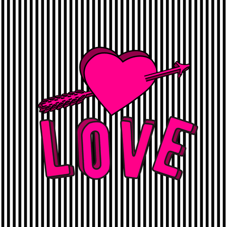 illustration of stylish love 3d text sign, arrow and pink heart isolated on striped background in the Memphis style
