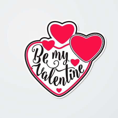 illustration of stylish sticker for Valentines day with red hearts and lettering text sign. Be my valentine greeting card