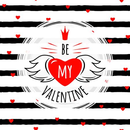 crown wings: illustration of stylish valentines day greeting card template with typography text sign, hearts, crown, wings, white round shape frame on seamless rough stripes background in Memphis style