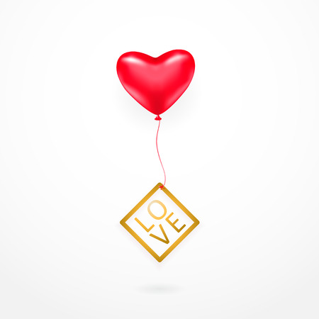 illustration of romantic element with red heart balloon, gold line frame with shine typography text sign LOVE isolated on white background. Valentines card template for holiday greeting