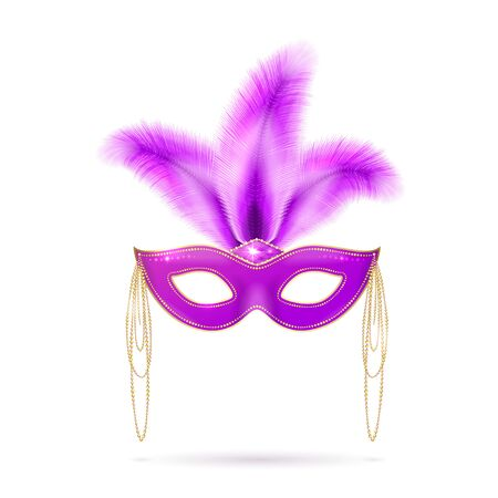 tacky: Vector illustration of violet Venetian carnival mask with colorful feathers