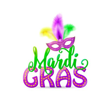Vector illustration of Mardi Gras text sign with venetian masquerade mask