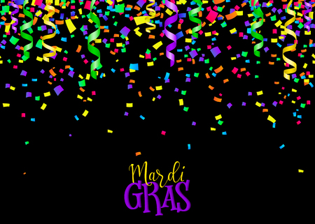 serpentines: Vector illustration of seamless border background with confetti and serpentine