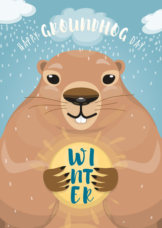 Vector illustration of happy groundhog day design with cute rodent