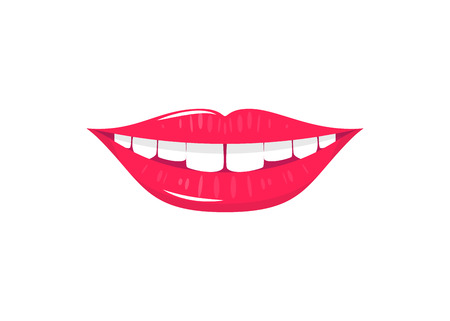 Vector illustration of flat laughing mouth with white teeth and red lips