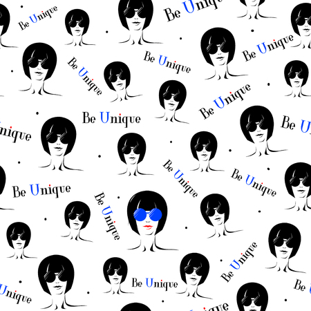 Vector illustration of seamless pattern with elegant girl in glasses in crowd