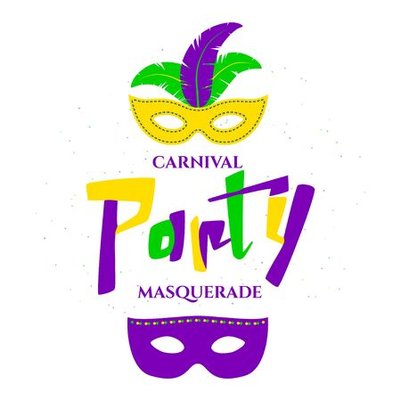 parade: Vector illustration of Mardi Gras background with typography text Stock Photo