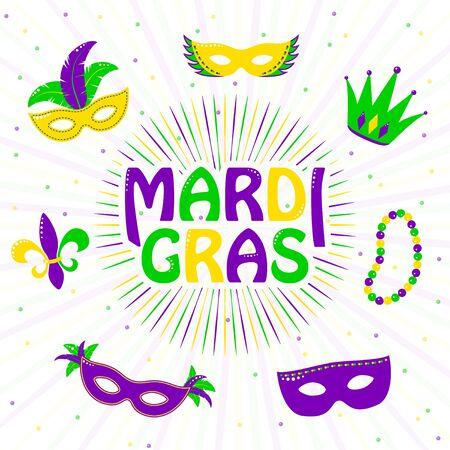 Vector illustration of purple, yellow, green mardi gras greeting card Stock Photo
