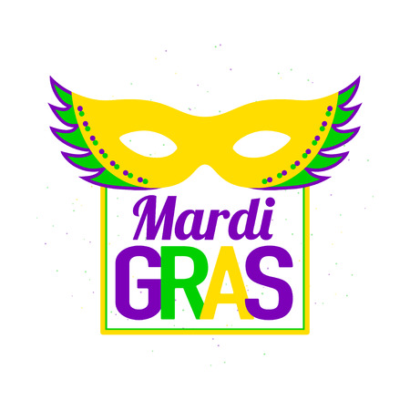 Vector illustration of Mardi Gras background with typography text Stock Photo