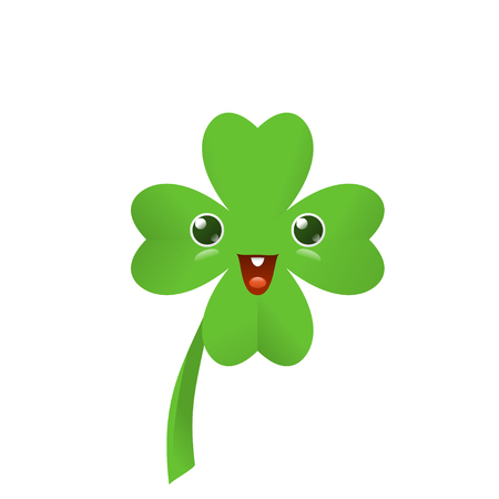 Vector illustration of four leaved green emoji clover for saint Patricks day greeting isolated on white background Stock Photo