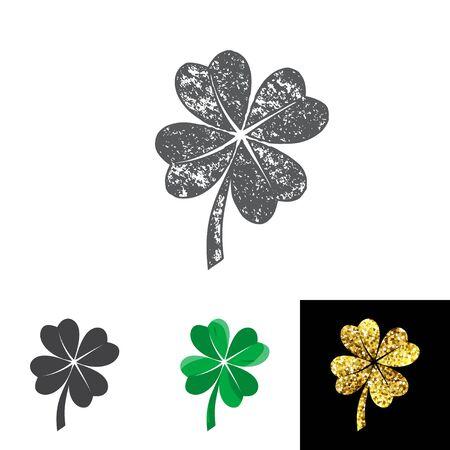 Vector illustration of four leaved clover set for saint Patricks day greeting