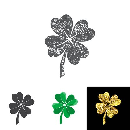 four leaved: Vector illustration of four leaved clover set for saint Patricks day greeting