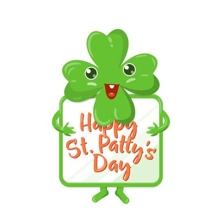 four fourleaf: Vector illustration of four leaved green emoji clover with celebration poster Illustration
