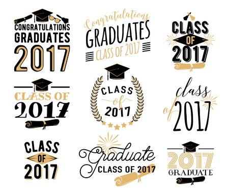Graduierung wünscht Overlays, Etiketten gesetzt. Retro Absolvent Klasse von 2017 Abzeichen Standard-Bild - 71968250