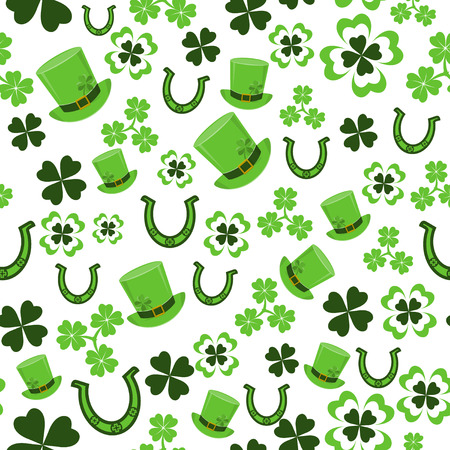 seamless clover: Vector illustration of seamless pattern for saint Patricks day greeting