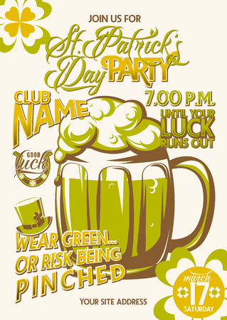 fourleaved: Vector illustration of patricks day party invitation poster template design