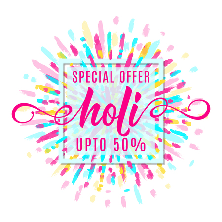 Vector illustration of holi festival of colors banner sale