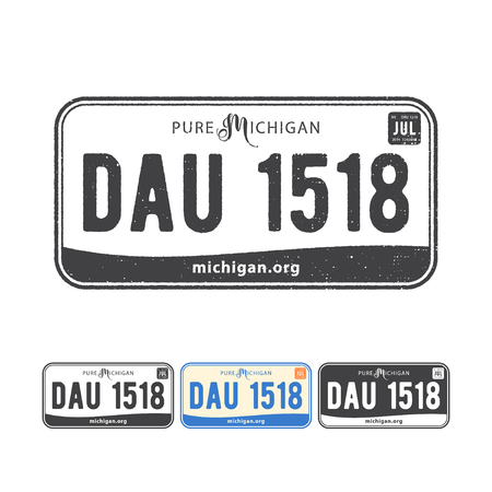 Vector illustration of america USA car number plates