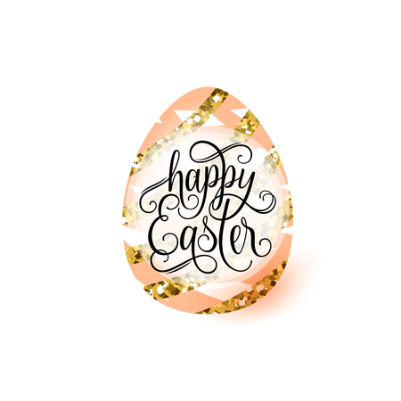 golden egg: Vector illustration of cute luxury happy easter greeting concept