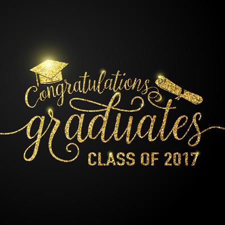 Vector auf schwarzem Hintergrund Graduierung Glückwünsche Absolventen 2017 Klasse Vektorgrafik